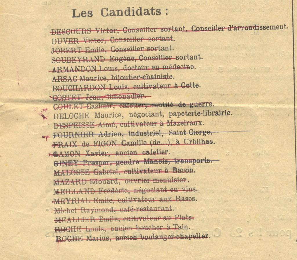 liste descours 1929