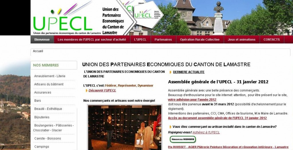 site internet UPECL commerçants artisans Lamastre