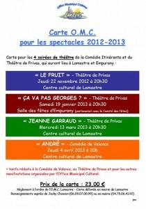 theatre et spectacle  lamastre saison 2012 2013