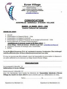 assemblée générale écran village lamastre Vernoux 2013