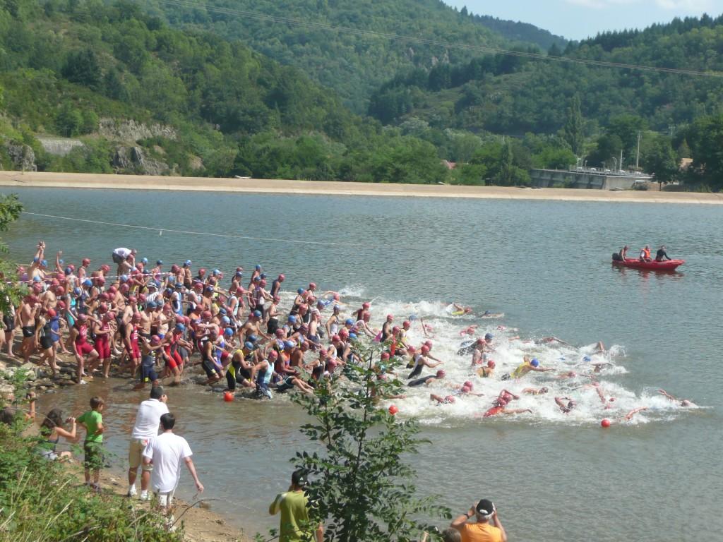 départ triathlon lac collanges le cheylard les nonieres