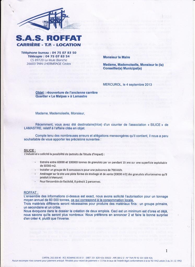 réponse Mr David Roffat carrière Lamastre page 1