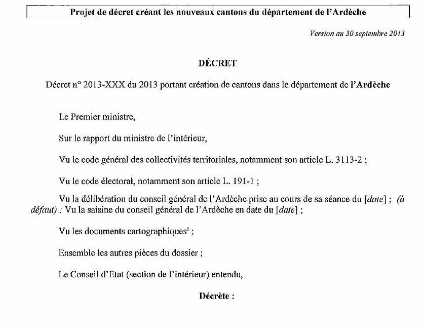 projet de décret créant les nouveaux cantons du département de l'ardèche