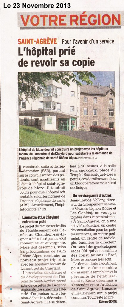 hopital st agreve article dauphiné libere 23 nov 2013 date