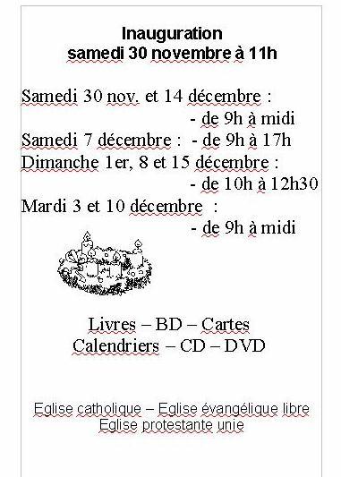 horaire librairie oecuménique Lamastre 2013