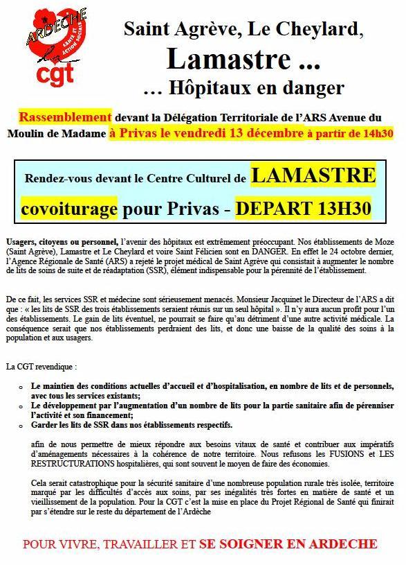 Tract CGT soutien hopitaux locaux lamastre saint agreve le cheylard