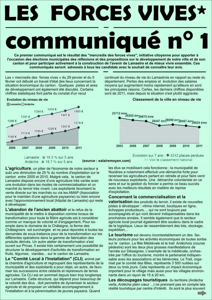 Forces Vives lamastre communiqué 1 -page 1