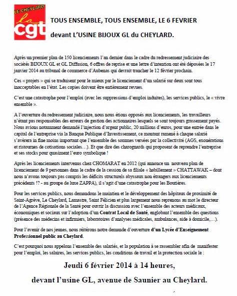 Tract CGT , rassemblement Legros Bijou GL 6 février 2014