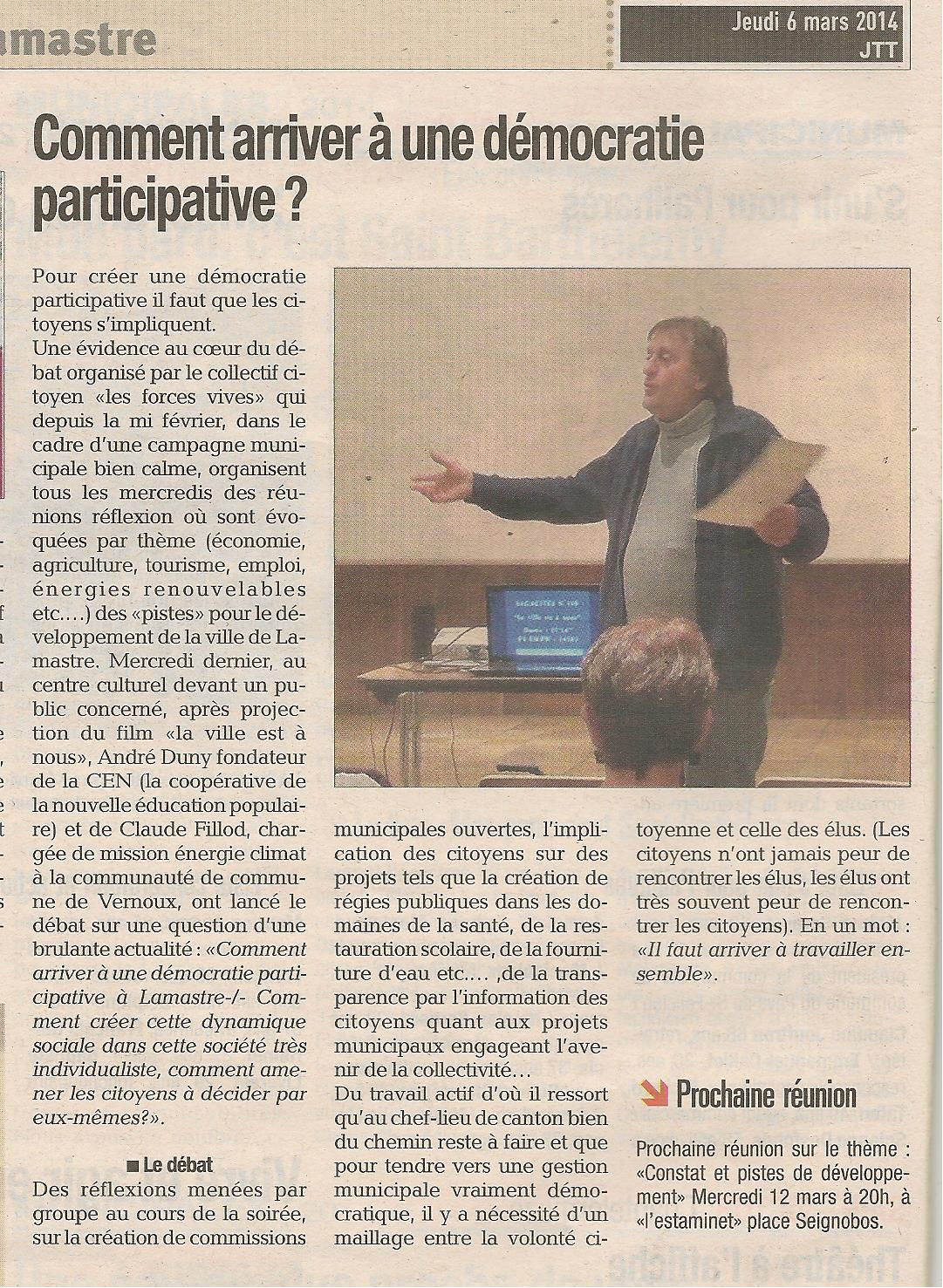 article démocratie participative lamastre  JTT