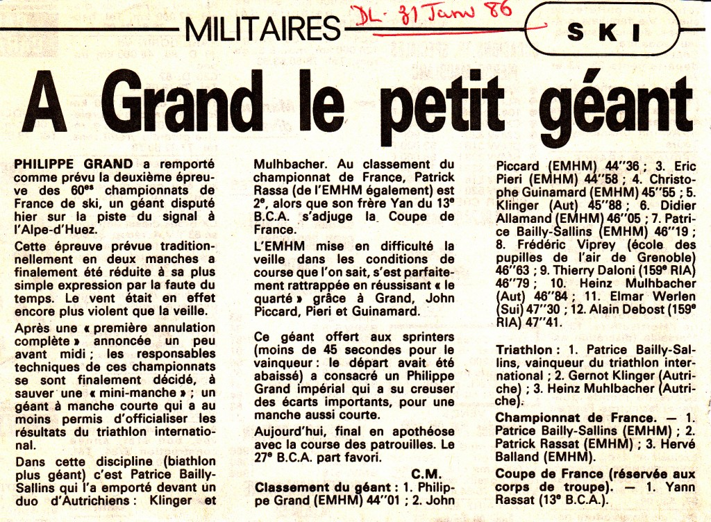 PHILIPPE GRAND champion france militaire geant 1986