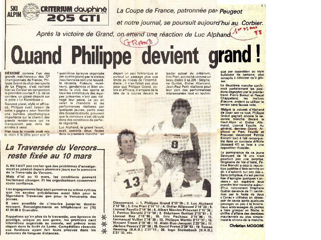 PHILIPPE GRAND trophée GTI ski 1985 F
