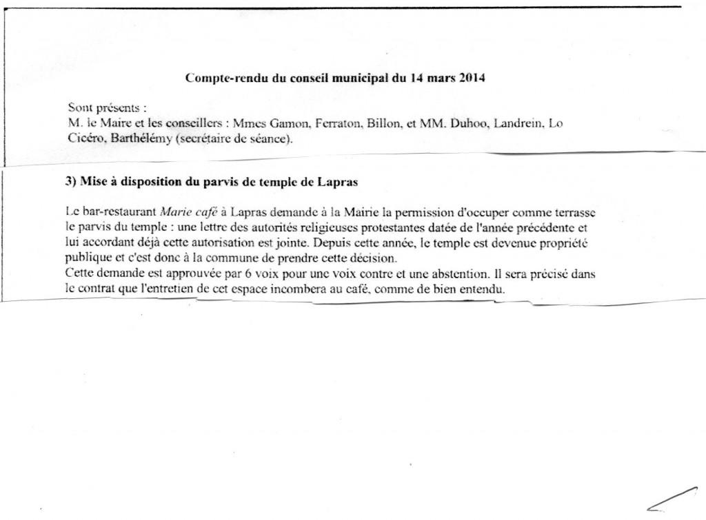 compte rendu conseil municipal du 14 mars 2014