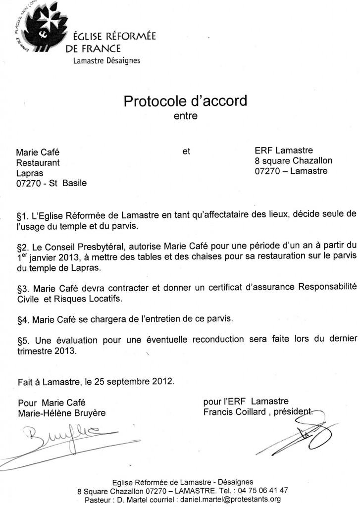 protocole d'accord entre  conseil presbyteral et marie cafe