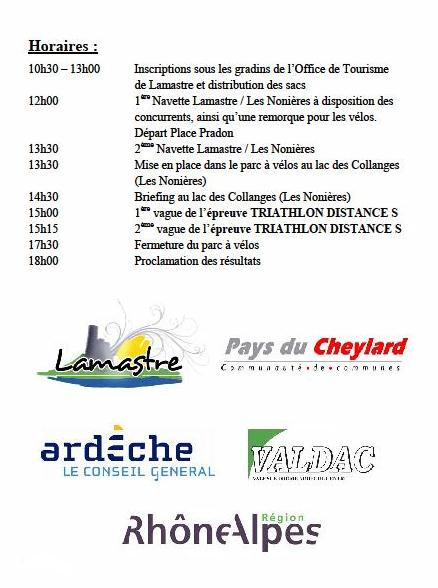 triathlon lamastre le cheylard 2014 horaires