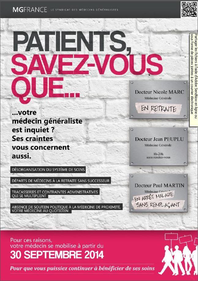 affiche MG France journée du 30 septembre désertification médicale