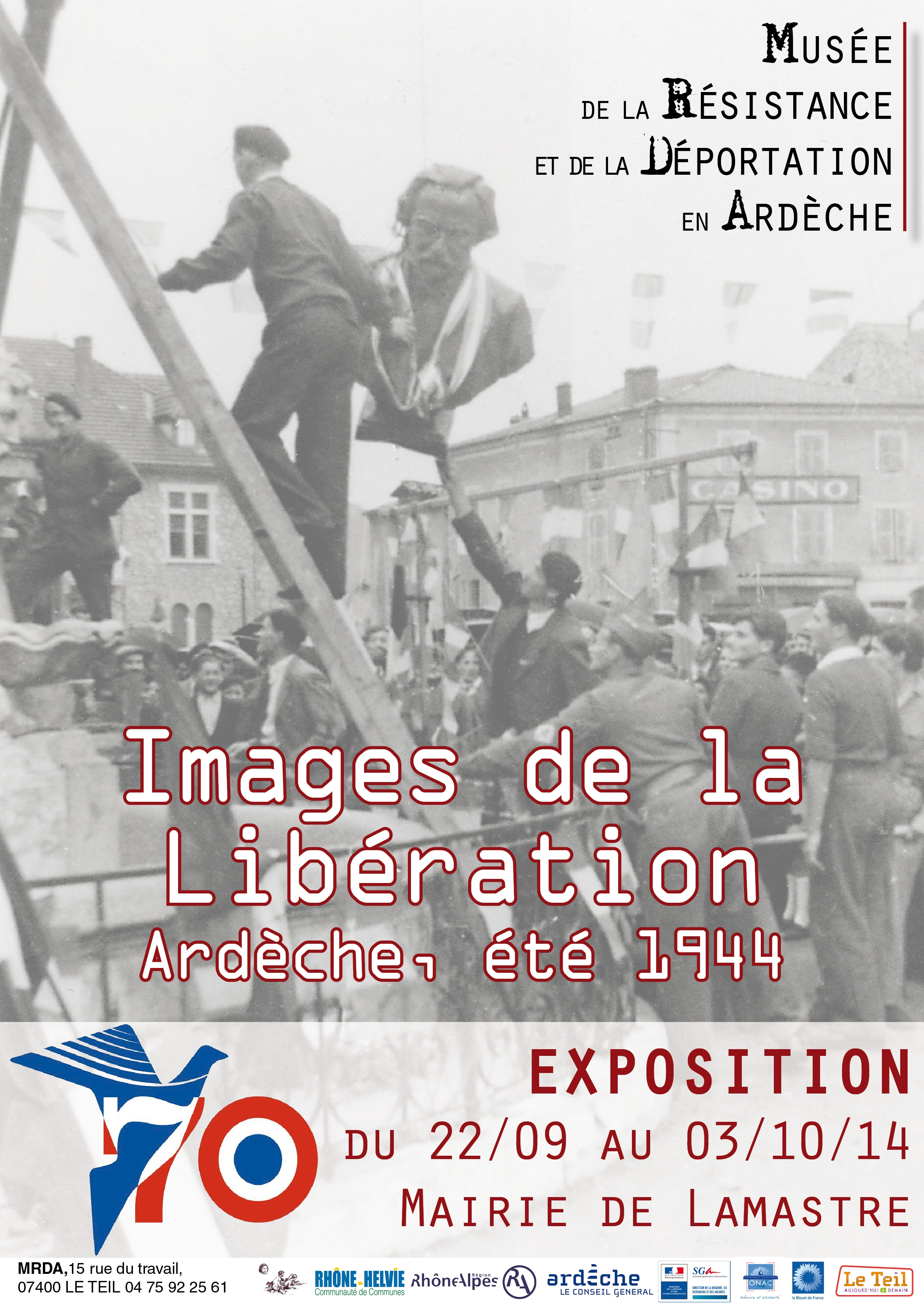 affiche images de la libération Lamastre monument seignobos