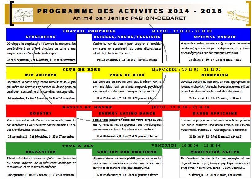 programme  activites viva's 2014