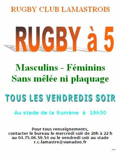 rugby à 5 lamastre annonce