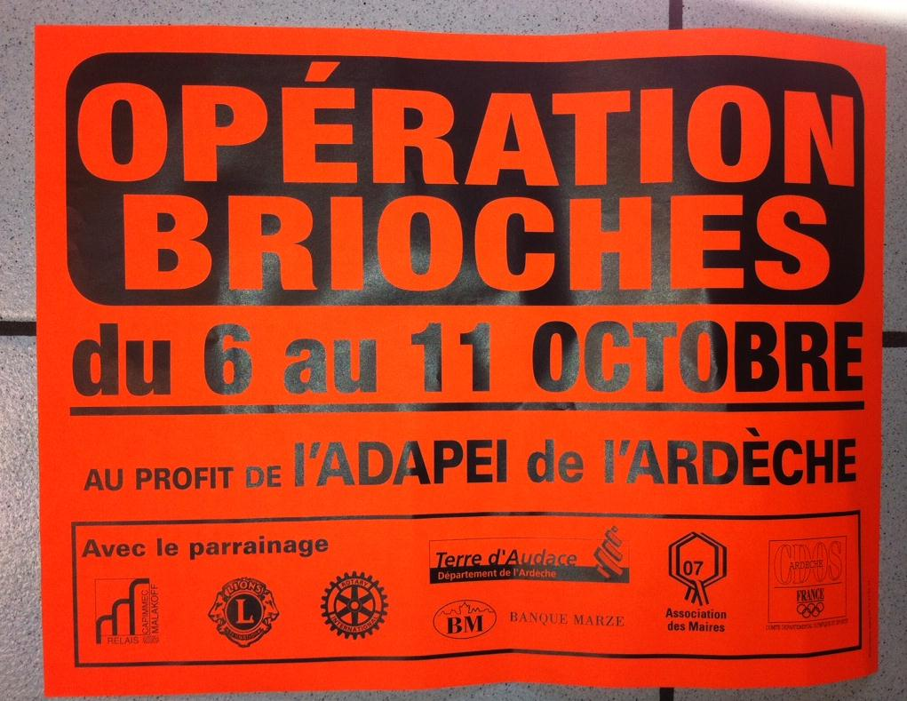 Opération brioches 2014 ADAPEI ardeche