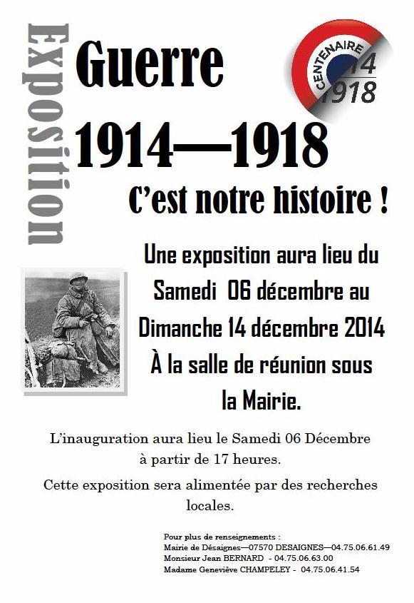 Affiche Exposition Guerre 14-18 desaignes