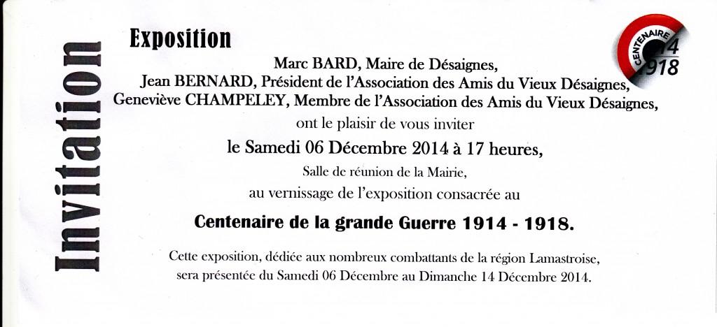 Invitation EXPO GUERRE 14 18 Desaignes