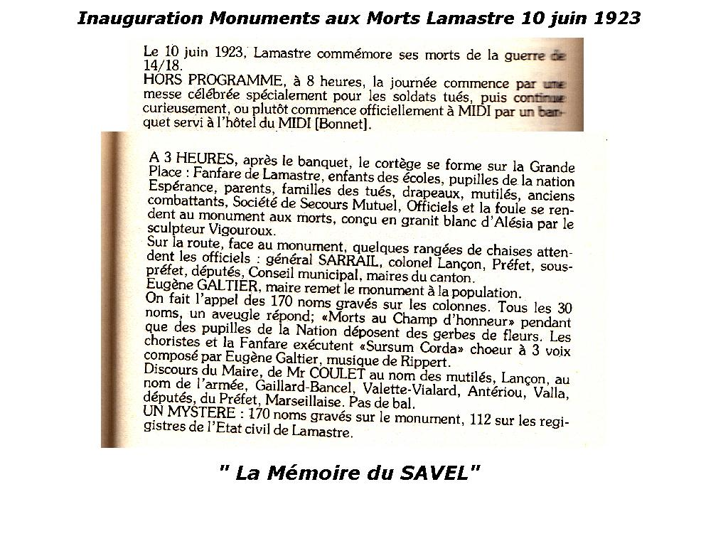 inauguration monuments morts lamastre 1923