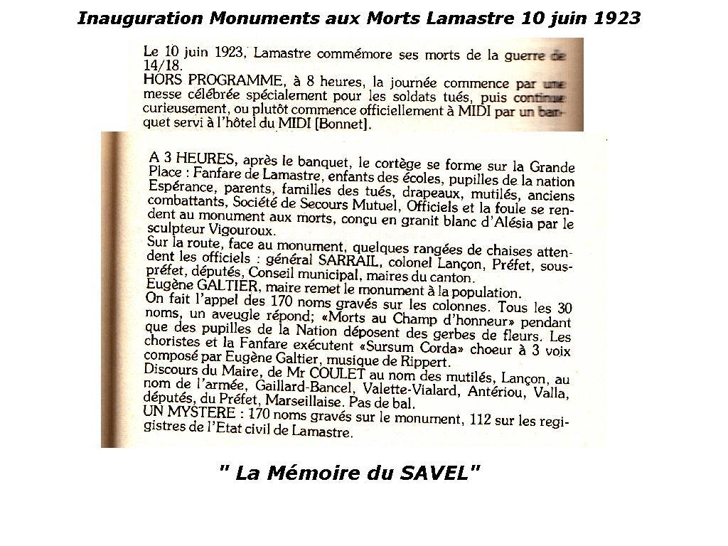 inauguration monuments morts lamastre 1923