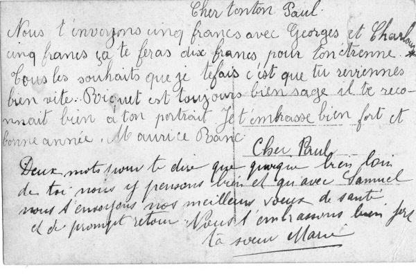 lettre Marie Ranc maurice Ranc Paul Bouit