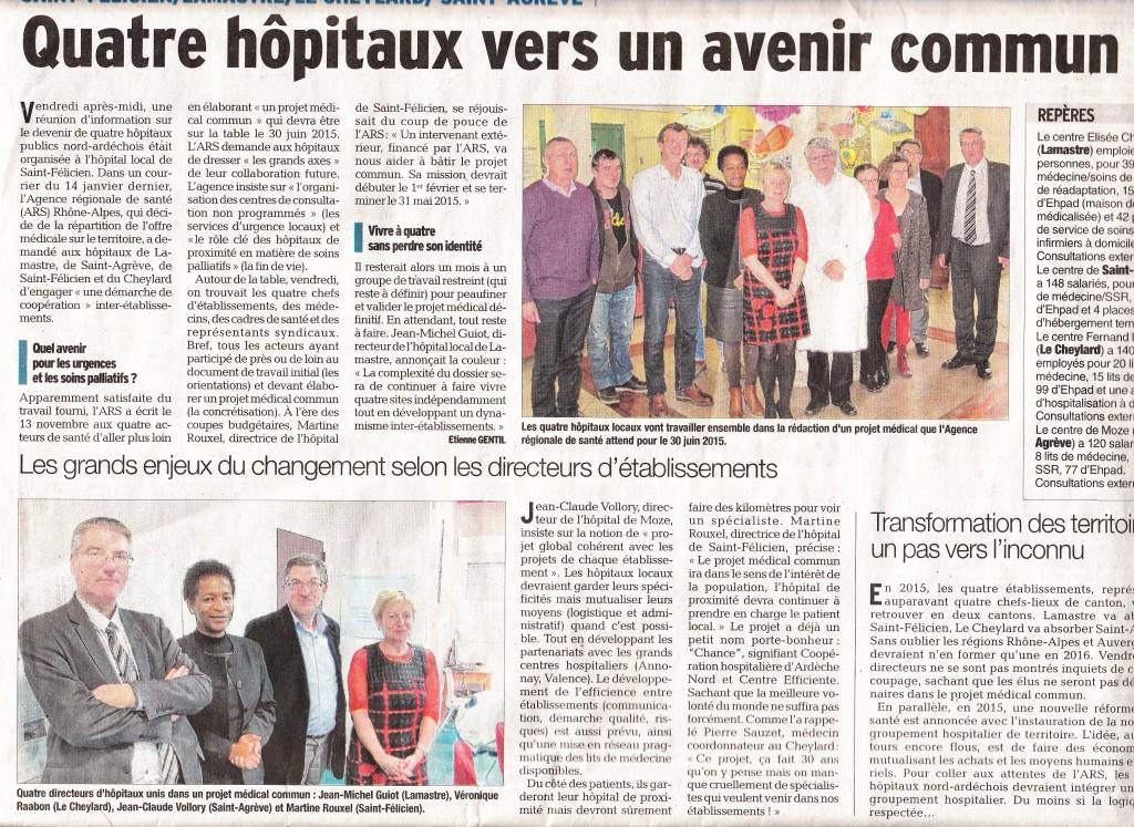 Dauphine libere reunion 4 hopitaux 19 décembre 14