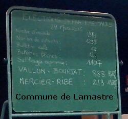 resultat départementales 2015 commune lamastre deuxieme tour F