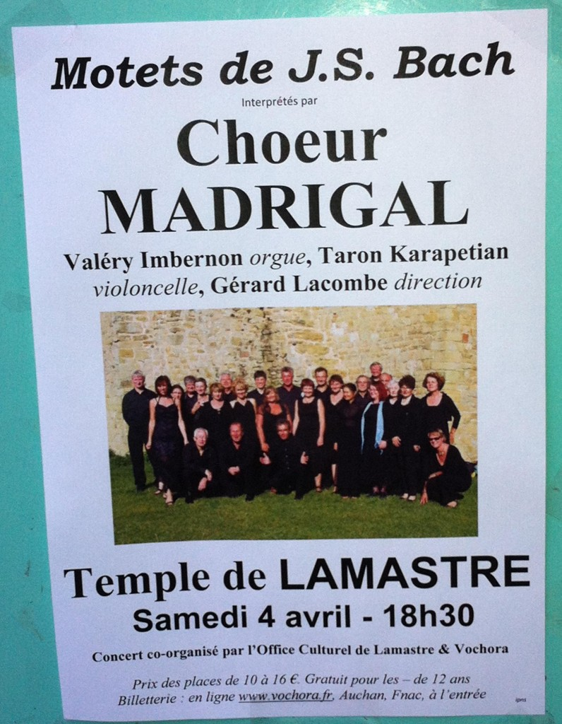 choeur madigal tournon JS Bach