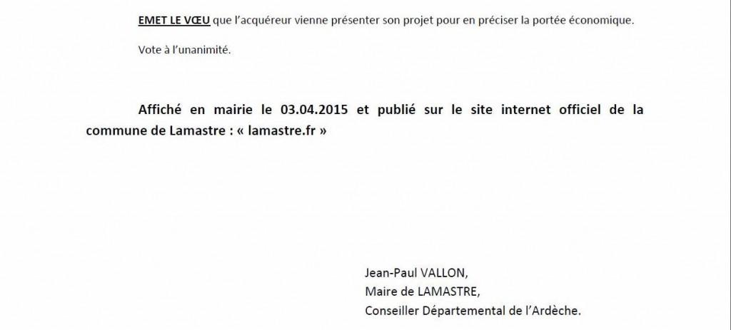 deliberation CM Lamastre 31 mars 2015 3 correction sous prefet