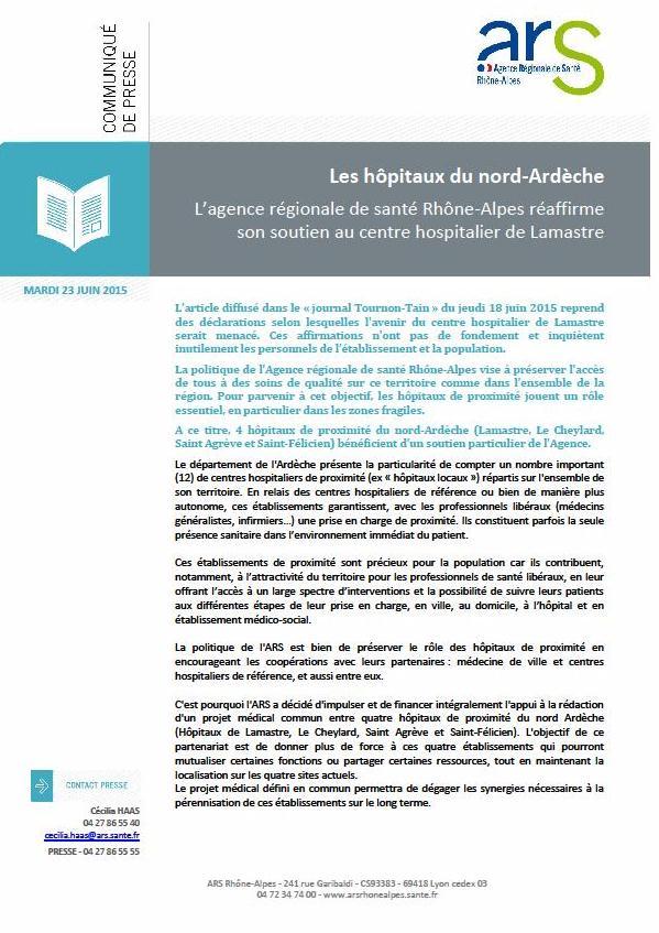 communiqué ARS presse Hopital lamastre
