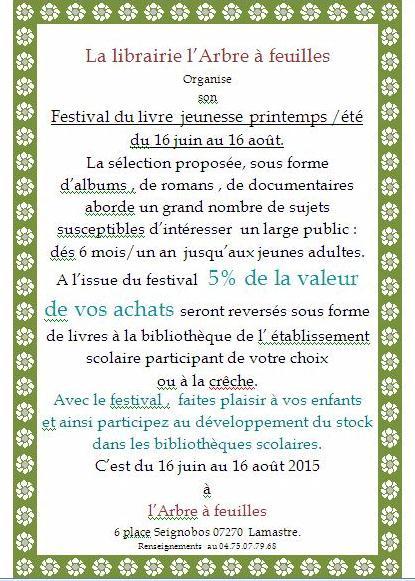 festival livre 2015 arbre a feuille lamastre
