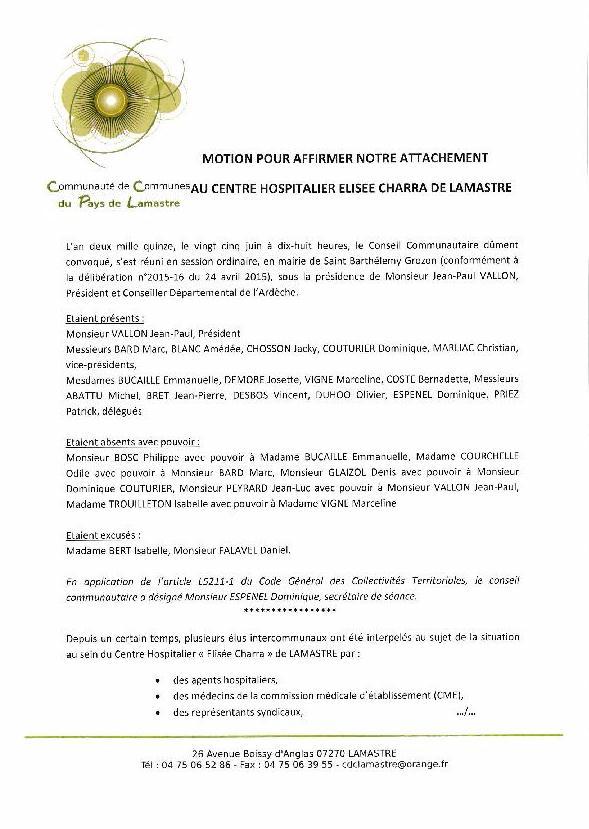 motion Communauté commune lamastre hopital E Charra