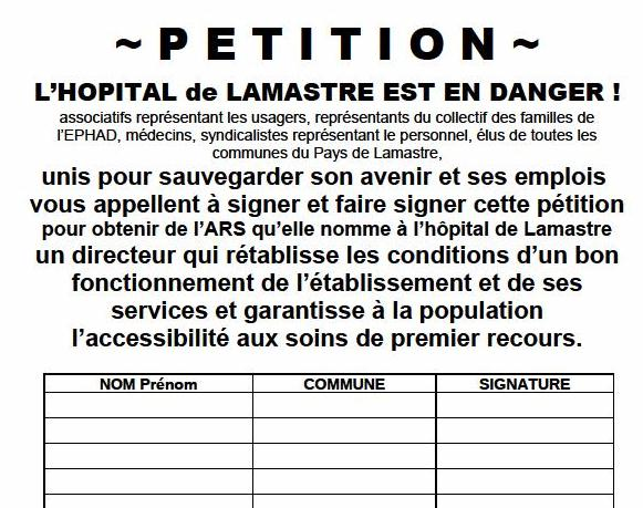 petition hopital lamastre direction ARS
