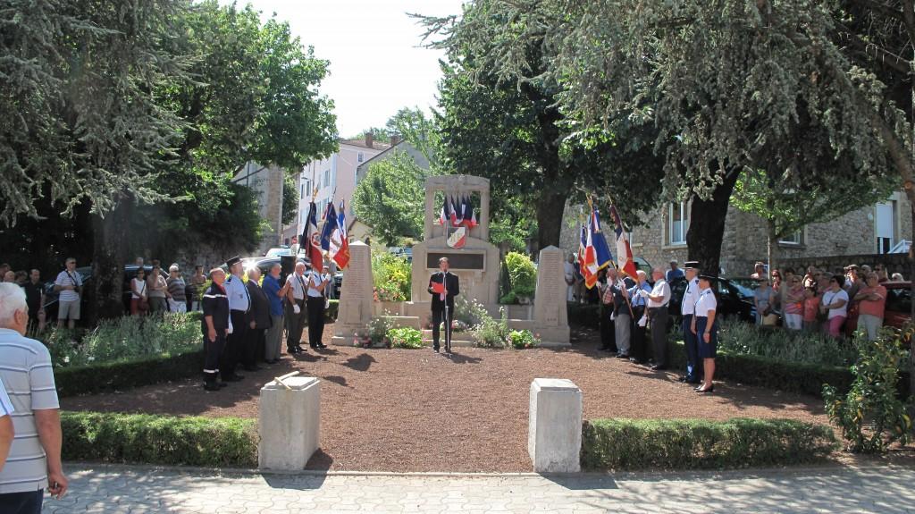 discours J P Vallon 14 juillet 15 monument morts lamastre