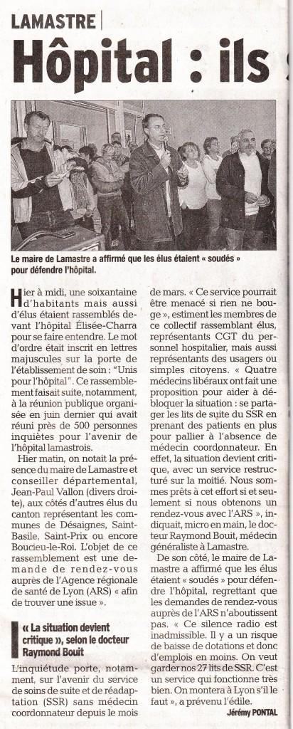 dauphiné libéré 6 octobre hopital lamastre général