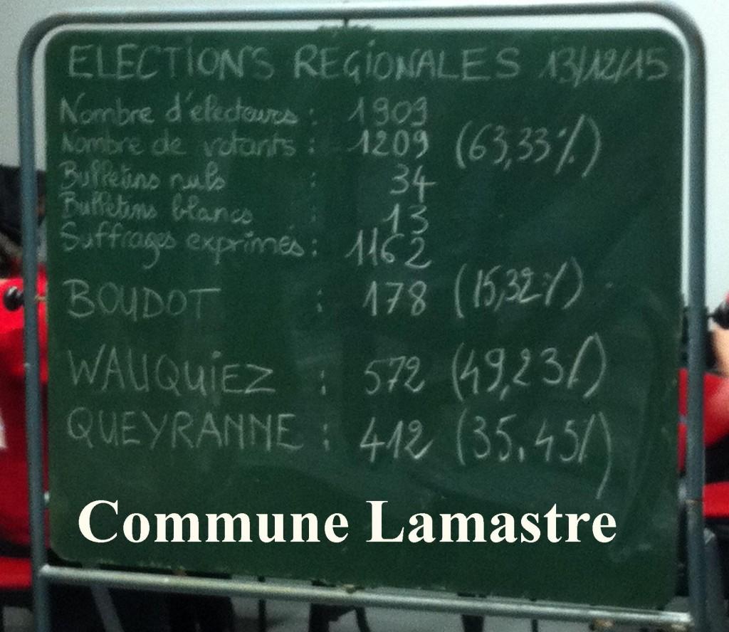 resultats régionales 2015 commune lamastre
