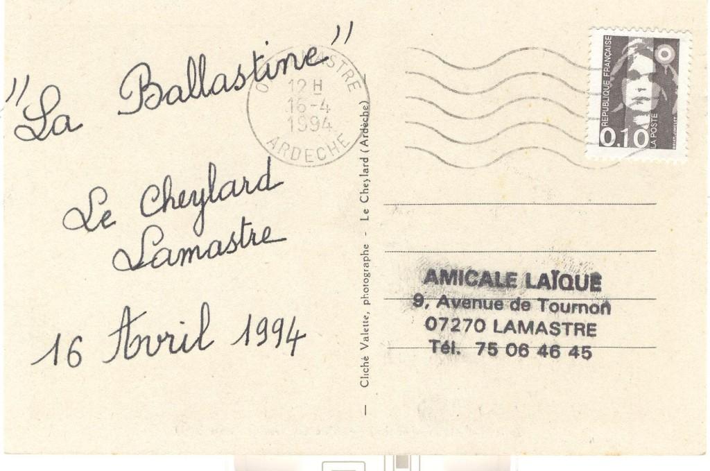 La Ballastine 1994 Lamastre amicale laique dolce via