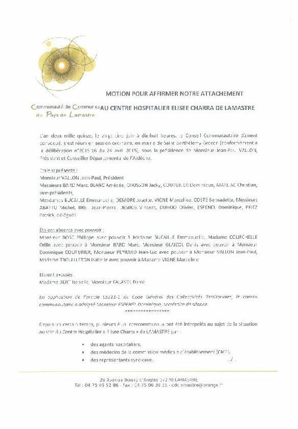 MOTION COM COM LAMASTRE Hopital lamastre conflit 1