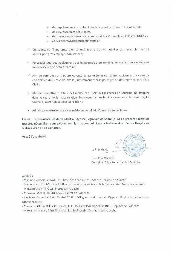MOTION COM COM LAMASTRE Hopital lamastre conflit 2 F