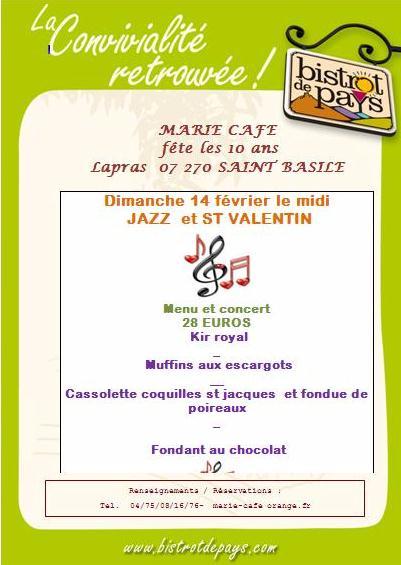 marie café jazz st valentin dimanche