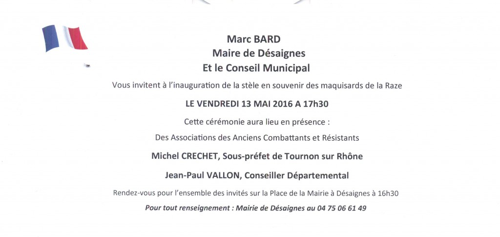 plaque inauguration maquis de la Raze invitation marc bard