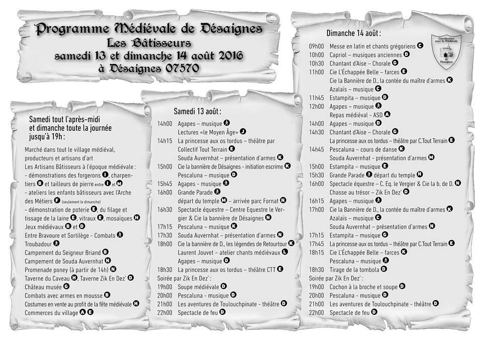 programme medievale desaignes 2016