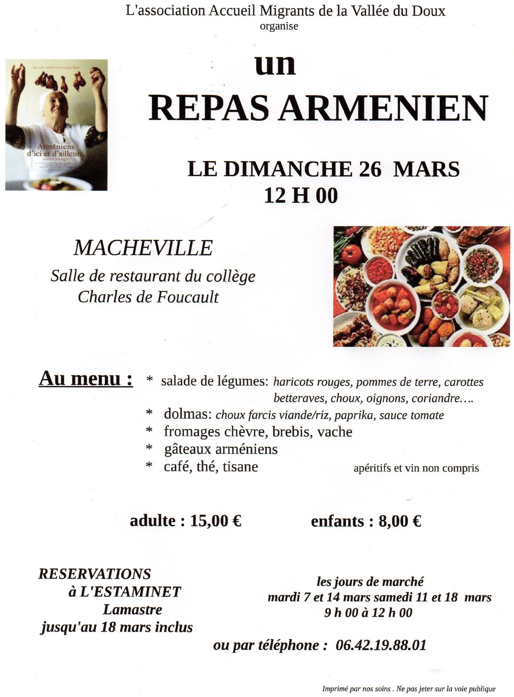 repas armenien lamastre mars 2017