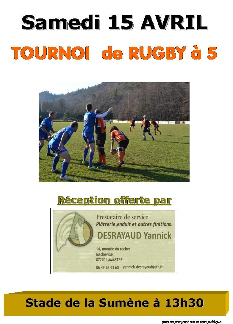 tournoi rugby à 5 lamastre 15.04.17
