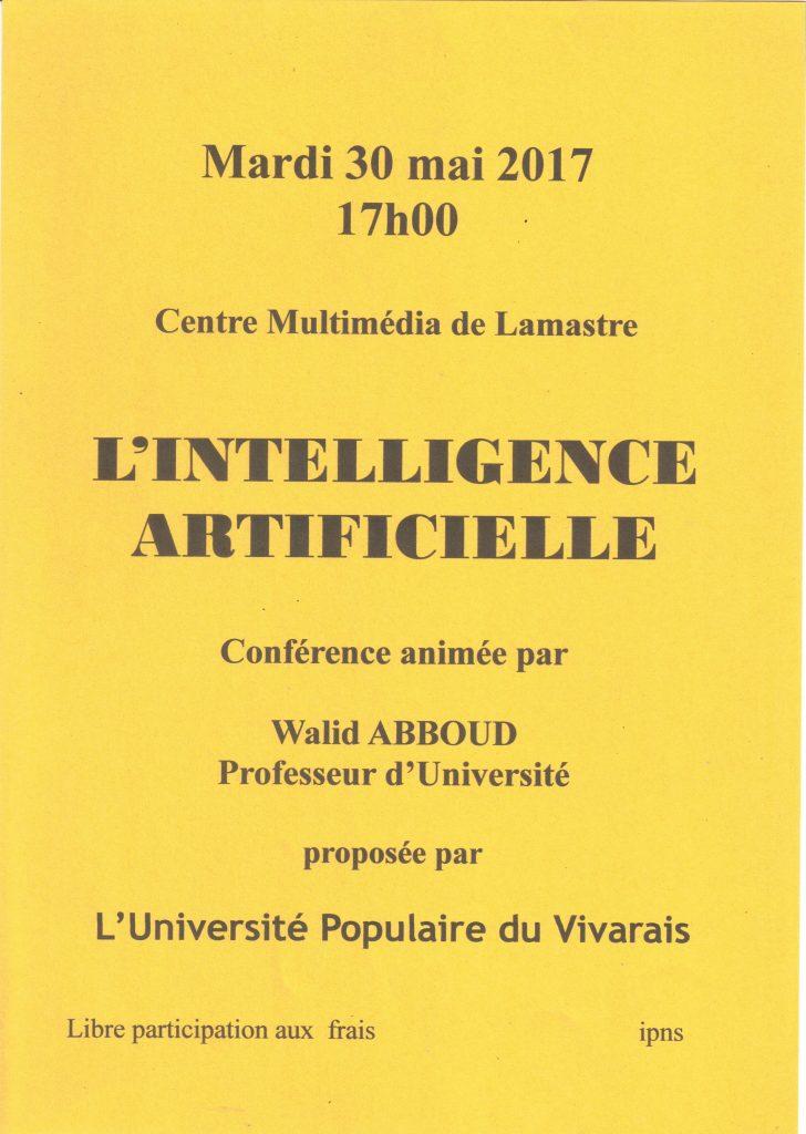Affiche L'intelligence artificielle UTL LAMASTRE (30 mai 2017)