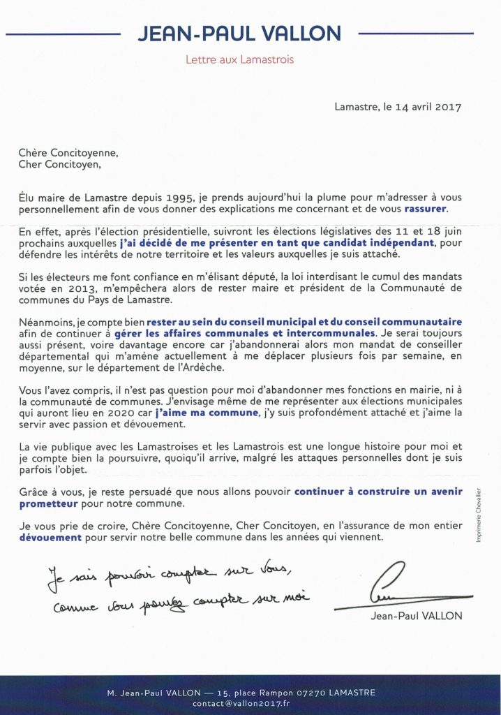 lettre lamastrois j p vallon legislatives
