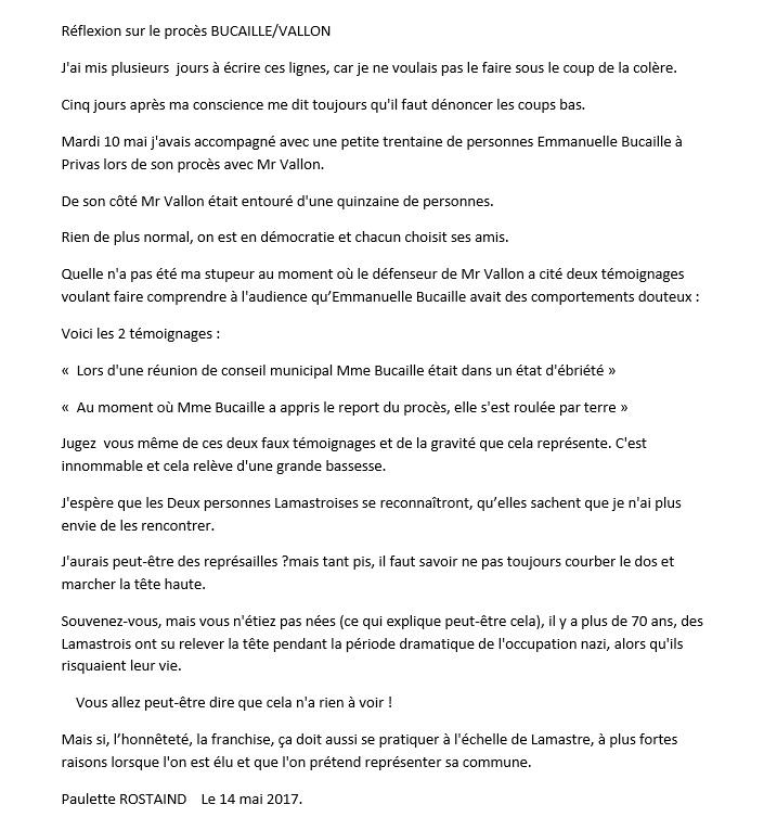 procès Vallon Bucaille temoignage réaction rostaind